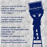 Rejoignez-nous et participez au savoir-faire de la Maison Jean-Paul Hévin.  • • • #jeanpaulhevin #maisonhévin #job #recrutement #vendeur #chocolatier #patissier
